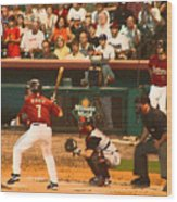 Biggio At Bat Houston Astros Wood Print