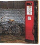 Bike - Two Bikes And A Gas Pump Wood Print