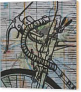 Bike 2 On Map Wood Print by William Cauthern