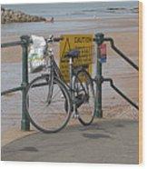 Bike Against Railings Wood Print