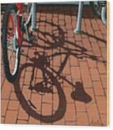 Bike And Bricks  Wood Print