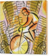 Bike And The City Wood Print
