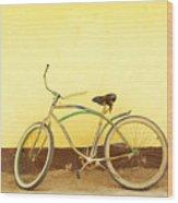 Bike And Yellow Wall Wood Print