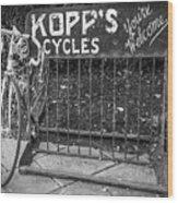 Bike At Kopp's Cycles Shop In Princeton Wood Print