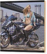 Bike, Babe, And Bridge In The Big Apple Wood Print