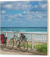 Bike Break At The Beach Wood Print