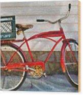 Bike - Delivery Bike Wood Print by Mike Savad