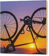 Bike On Seawall Wood Print