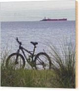 Bike On The Bay Wood Print