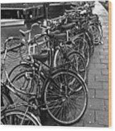 Bike Parking -- Amsterdam In November Bw Wood Print