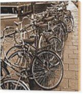 Bike Parking -- Amsterdam In November Sepia Wood Print