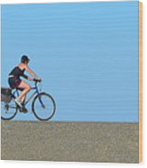 Bike Rider On Levee Wood Print