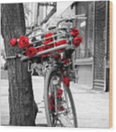 Bike With Red Roses Wood Print