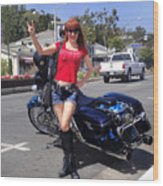 Biker Girl. Model Sofia Metal Queen Wood Print