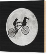 Biker Of The Moon Wood Print
