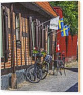 Bikes And Flags Wood Print