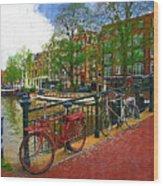 Bikes On The Bridge Wood Print