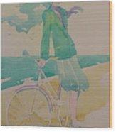 Biking By The Sea Wood Print