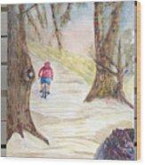 Biking In The Woods Wood Print