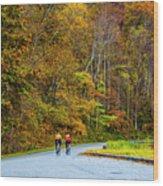 Biking On The Parkway Wood Print