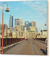 Biking On The Stone Arch Bridge Wood Print