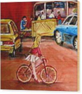 Biking To The Orange Julep Wood Print
