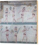 Bikini Girls Mosaic Wood Print