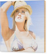 Bikini Lady Against Blue Sky Background Wood Print