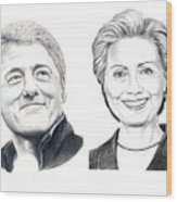 Bill And Hillary Wood Print