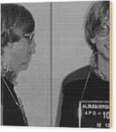 Bill Gates Mug Shot Horizontal Black And White Wood Print