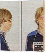 Bill Gates Post Impressionist Mugshot Wood Print