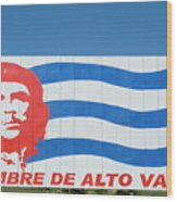 Billboard With The Iconic Che Guevara Portrait And National Cuban Flag Wood Print
