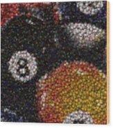 Billiard Ball Bottle Cap Mosaic Wood Print