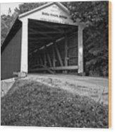 Billie Creek Covered Bridge Black And White Wood Print