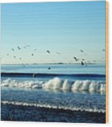 Billowing White Waves And Seagulls Wood Print