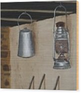 Billy Can And Oil Lamp Wood Print