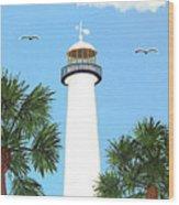 Biloxi Lighthouse Painting Wood Print