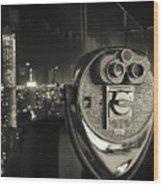 Binocular In New York City, Image In Grunge And Retro Style. Wood Print