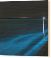 Bioluminescence In Waves Wood Print by Philip Hart