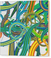 Bipolar Mania Rollercoaster Abstract Wood Print