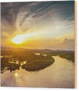 Bira River At Sunset. Wood Print