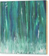 Birch Canoe At Waterfall Wood Print