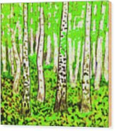 Birch Forest, Painting Wood Print
