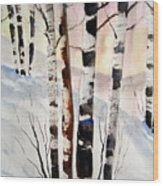 Birch In The Snow Wood Print