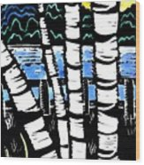 Birch Lake Wood Print by Jane Croteau