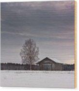 Birch Tree And An Old Barn House Wood Print