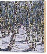 Birch Tree Mosaic 2 Wood Print