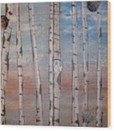 Birch Trees - Clouds Wood Print