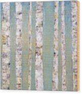 Blue Birch Trees Wood Print