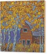 Birch Trees And Barn Wood Print